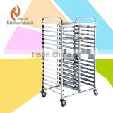 commercial stainless steel 18 layer tall GN bakery tray fast food trolley cart with 4 wheels