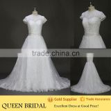 New Fashion Round Neck Cap Sleeve Appliqued Lace Sequined Beading Description Of Wedding Dress