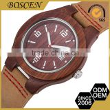 2016 High-End Handmade Nice 3 Atm Water Resistant Fashion Wooden Wood Leather Watches