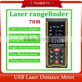 2016 New rechargeable 70m 229ft infrared Laser distance meter Rangefinder Tape with Bubble Level measure angle/ Area/Volume Tool