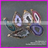 GZKJL-CT0076 Druzy Jewelry Necklace Pendant Gold Bezel Edged Agate Slice Drusy Pendant (Random in SHAPE)