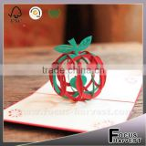 Handmade card Blessed Christmas apple card Santa Fesitival Decorations 3D Hollow Kirigami Apple Style Pop Up Postal Cards