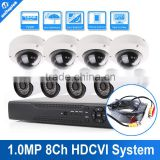 CCTV Security System HDCVI System 720P 1.0MP HD CVI IR Bullet+Dome Camera Surveillance Security System 8 Channel CVR Kit Mobile