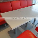 Solid surface white color long narrow bar tables,Acrylic soid surface restuarant dining table,made stone coffe table