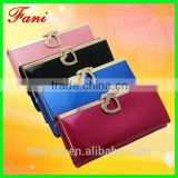Luxury style cute rhinestone clutch leather travel wallet and purse for women with elegant apperance
