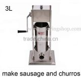 3L Commercial Stainless Steel Manual Hand Crank Sausage Stuffer and Churros Machine