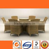 HL6090 Latest designs of glass dining table 6 chairs set good quality outdoor indoor dining set rattan garden patio