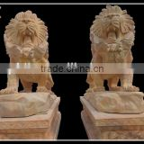 Hand-carved Marble Lion Animal Statues Sculpture