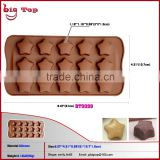 BT0099 New Silicone Bakeware Mini Chocolate Mold 15 Holes Star Shape Silicone Chocolate Mould Ice Cube Container Ice Tools