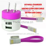3 IN 1 dual usb charger 2.1A micro usb cable with usb cable For samsung HTC iphone