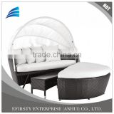 Rattan Round Daybed Lounger with Table and Ottoman, Garden Patio Daybed Sofa with Canopy