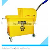 Heavy Duty Commercial Plastic Mop Bucket 20L W/ Wringer, Yellow - Commercial Grade For Hotel/Houstital/Housekeeping Cleaning