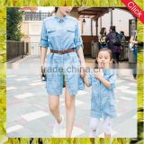 Lastest family parent-child matching clothing denim dress designs pictures summer mother and daughter dress