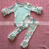 FLF-862 floral icing leggings matched baby ruffle raglan shirts kids cotton frocks design princess pattem clothing set