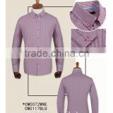 factory 100% cotton carbon peach finishing soft wine check long sleeve button up colar made to measure custom mens dress shirt