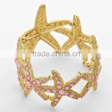 Fashion Beach and Sea Life Jewelry Pave Bead Starfish Stretch Bangle Bracelet