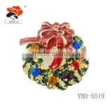 china factory product direct marketing fashion Christmas wreath alloy copper brooch
