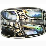 Shell Silver Plated Rings Nature Oversize Abalone shell Rings Lady Prom Gift Ring