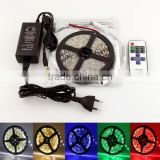 5m 5050 300SMD Color LED Strip Light Lamp+11 Key RF Remote+12V 5A Power Adapter