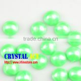 Factory prices beautiful green heat transfer pearls, half round imitation pearls, hotfix ABS pearl for all decor