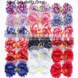 Flag Day red white blue chiffon shabby flowers trim wholesale headbands flower shabby chiffon flower shabby flower
