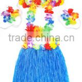 Carnival costume accessory hawaiian hula skirt wedding fancy dress with flower decorations BWG-4060