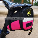 2015 new fashionalbe design pink color top quality waterproof bicycle seat bag for women