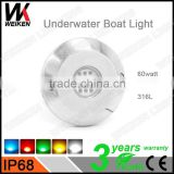 wholesale 316L stainless steel ip68 12v 60w LED Underwater Boat Lights and Dock Lights Single Lens Red