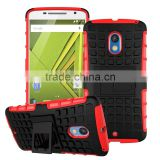 Factory direct wholesale stand armor mobile case for Motorola Moto X Play