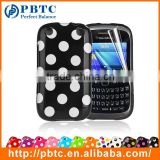 Set Screen Protector And Case For Blackberry 9320 , Polka Dots Gel TPU Phone Case Sublimation Printing