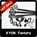 2016 simple style best sale black curtain tube, good price plain iron curtain pipe diy, hang curtain rod wall mount iron bracket