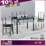 A-16 Modern glass top marble base dining table from China manufacturer