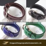 colorful charming leather bracelet with buckle for men and women, leather bracelt teenager