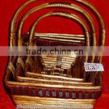China factory wicket straw basket customizable handmade wooden gift box