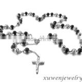 black plated stainless steel mens beaded necklaces with cross