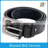 Men's Black Color Perforated Artificial PU Leather Belt with Silver Heavy Pin Buckle