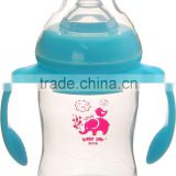 Customer brand and logo name with handle plastic baby bottles
