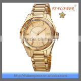 The Middle East Women Likes Golden Fashion Watch Design Diamond Stainless Steel Back Watch