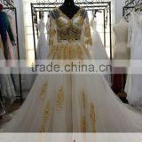 AR-14 Simple Generous Elegant Long Sequined Gold Appliques V-Neck Tulle See Through Beach Wedding Dress 2016
