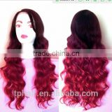BABY HAIR Ombre Burgundy Wine Red HEAT OK Curly LACE FRONT & PART Wavy Futura Fiber Wig