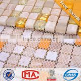 LJ JTC-1302 Beige Natural Stone Mix Golden Crackle Glass Mosaic Tile Bathroom Floor Tiles in Philippines Style