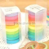 Wholesale YIWU FACTORY Colorful solid plain color Washi Tape (set of 10 rolls) 15mm x 10m