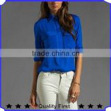 women long sleeve fashion royalblue pearl chiffon shirts, high quality design pearl chiffon blouses 2016 new designs