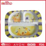 Baby safety lovely bee decal rectangle divided serving tray for kids