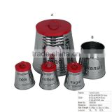 BX038 Kitchen Ware Stainless Steel Round Coffee Canister With Red Lid