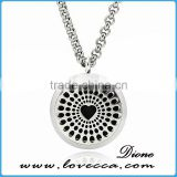 New Professional Silver Color Stainless Steel round aromatherapy locket necklaces