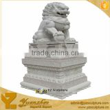 Bueatiful Chinese White Stone Lion Animal Statue