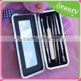 skin care acne remover kit with tweezer	,SY027	7-pcs black head remver kit