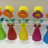 2016 new plastic flower kitchen dish and pan brush