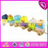 Kids wooden train set pull along toy,Wooden block train toy for children,Pull Shape Block Train Toy W05C021